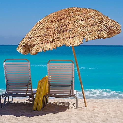 ACXZ Sombrilla de Paja Hawaii de 2,4 m con inclinación, sombrilla de Paja Tropical para Patio para césped/Patio/Playa/jardín/terraza, 8 Varillas, sin Base