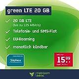 Handyvertrag green LTE 20 GB - Internet Flat, Allnet Flat Telefonie & SMS in alle Deutschen Netze, EU-Roaming, monatlich kündbar