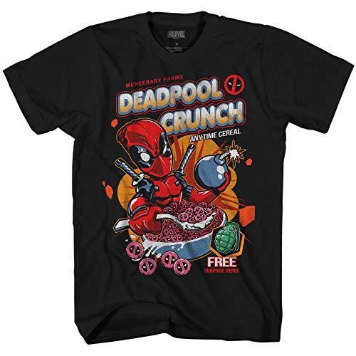 Marvel Deadpool Crunch Cereal Comics Funny Adult Mens Graphic T-Shirt (Black, X-Large)