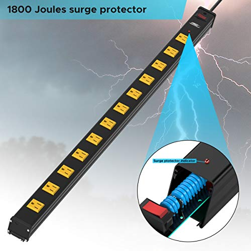 CRST Heavy Duty Surge Protector Power Strip Wide Spaced 12-Outlet 15 Feet Long Extension Cord with Mounting Brackets 15A Circuit Breaker 1800 Joules 6