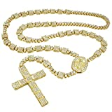 NIV'S BLING - Jesus Cross Chain for Men and Women Iced with Cubic Zirconia | 14K Yellow Gold/White Gold/Black Gold Plated Rosary Pendant & Necklace 36 Inches