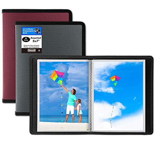 Dunwell 5x7 Small Photo Album (Assorted 3 Colors, 6 Pack), 24 Pockets Display 48 Photos, 5x7 Photo Album, Portfolio Folder for Artwork, 5x7 Great for Picture Storage, Art Storage, Sketches, Drawings
