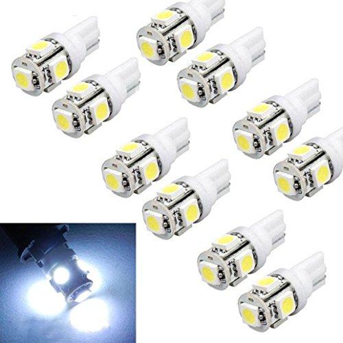 Susenstone 10pcs T10 Wedge 5-SMD 5050 Xenon Bombillas LED 192 168 194 W5W 158 2825 Blanca