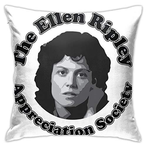 HONGYANW Alien The Ellen Ripley Apreciation Society Funda de almohada, impresión de doble cara, funda de almohada con cremallera oculta, hermosa funda de almohada con patrón impreso de 45,7 x 45,7 cm