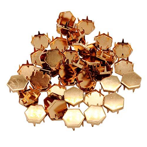 perfk 50x Schwarz Metall Pyramidennieten Nieten Ziernieten Basteln Rivets DIY Gürtel, Handtasche, Schuhe, Kleidung, Lederarmband - Roségold