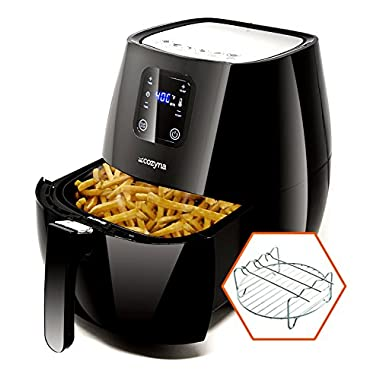 Cozyna SAF-32 Digital Air Fryer Touchscreen (3.7QT) with 2 airfryer cookbooks and a Skewer Rack Accessory