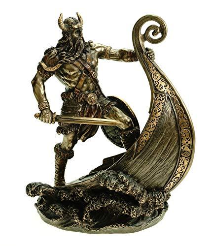 Veronese 708-7655 Figur Wikinger Steht am Bug seines Drachenschiffes 24 cm