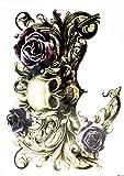 PARITA Big Tattoos Waterproof Sugar Skull Purple Roses Tattoo Sexy Body Arm Shoulder Chest & Back Removable Art Cartoon Old School Tattoo for Men Women (1 Sheet.) (02)