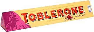 Original Toblerone Fruit Nut Chocolate Candy Block Imported From The UK England Swiss Milk Chocolate With Raisins Honey & Almond Nougat