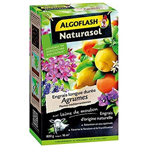 ALGOFLASH NATURASOL Engrais agrumes et Plantes Méditerranéennes longue durée, Jusqu'à 16m², 800 g, AGRUBIO800