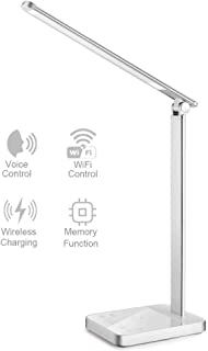 【New Version】Smart LED Desk Lamp with WiFi, Wireless Charger Eye Caring Desk Light 3 Color Modes 6 Brightness Levels Timer Memory Function USB Port Compatible for Alexa Echo Dot Google Home, Silver
