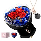 Real Preserved Rose, with Love You Gold Plated Necklace in 100...