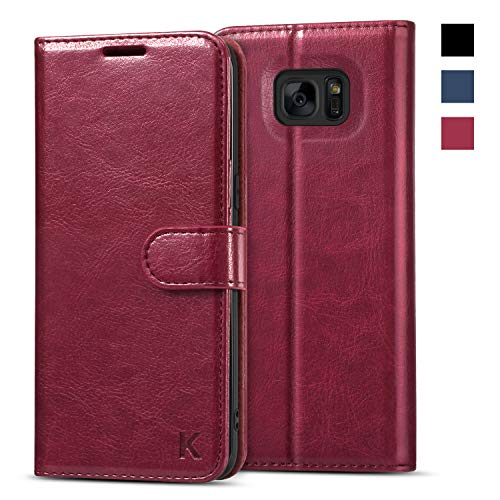 KILINO Galaxy S7 Edge Wallet Case [Shock-Absorbent Bumper] [Card Slots] [Kickstand] [RFID Blocking] Leather Flip Case Compatible with Samsung Galaxy S7 Edge - Burgundy