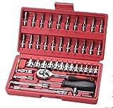 YELLAYBY Manga Herramienta de mantenimiento de auto reparación de automóviles Decoración del coche de trinquete Juego de llaves de 46 manga Conjunto de hardware Caja de herramientas (Color: Rojo) Sock