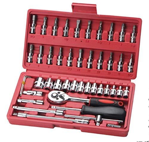 GUOCAO Herramienta Manga Herramienta de mantenimiento de auto reparación de automóviles Decoración del coche de trinquete Juego de llaves de 46 manga Conjunto de hardware Caja de herramientas (Color: