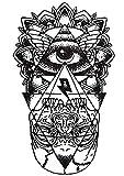 Tatuajes temporales para adultos - adhesivos para tatuajes de agua - adhesivos falsos - negro blanco - esotérico - ojo - pirámide - cráneo - egipto - gótico - oriental - exótico
