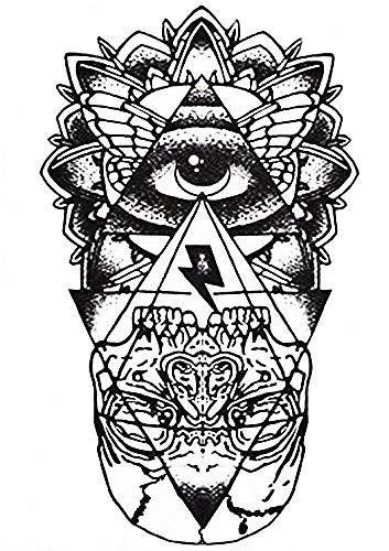 Tatuaggi temporanei adulti - Tattoo Adesivi ad acqua - Tatoo removibili - Stickers corpo Finti - Bianco Nero - Esoterico - Occhio - Piramide - Teschio - Egitto - Gotico - Orientale - Esotico