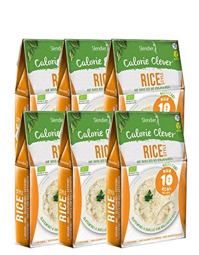 6 x Slendier Tagliatelle konjac biologiche, stile riso, a basso contenuto calorico, shirataki, fonte di fibre, senza glutine 6 x 250 g