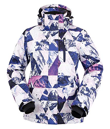 Andorra Women Insulated Waterproof Mountain Fishing Hiking Snow Ski Jacket,Retro Violet Grunge,XL