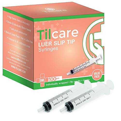 5ml Syringe Without Needle Luer Slip 100 Pack by Tilcare - Sterile Plastic Medicine Droppers for Children, Pets or Adults – Latex-Free Oral Medication Dispenser - Syringes for Glue and Epoxy
