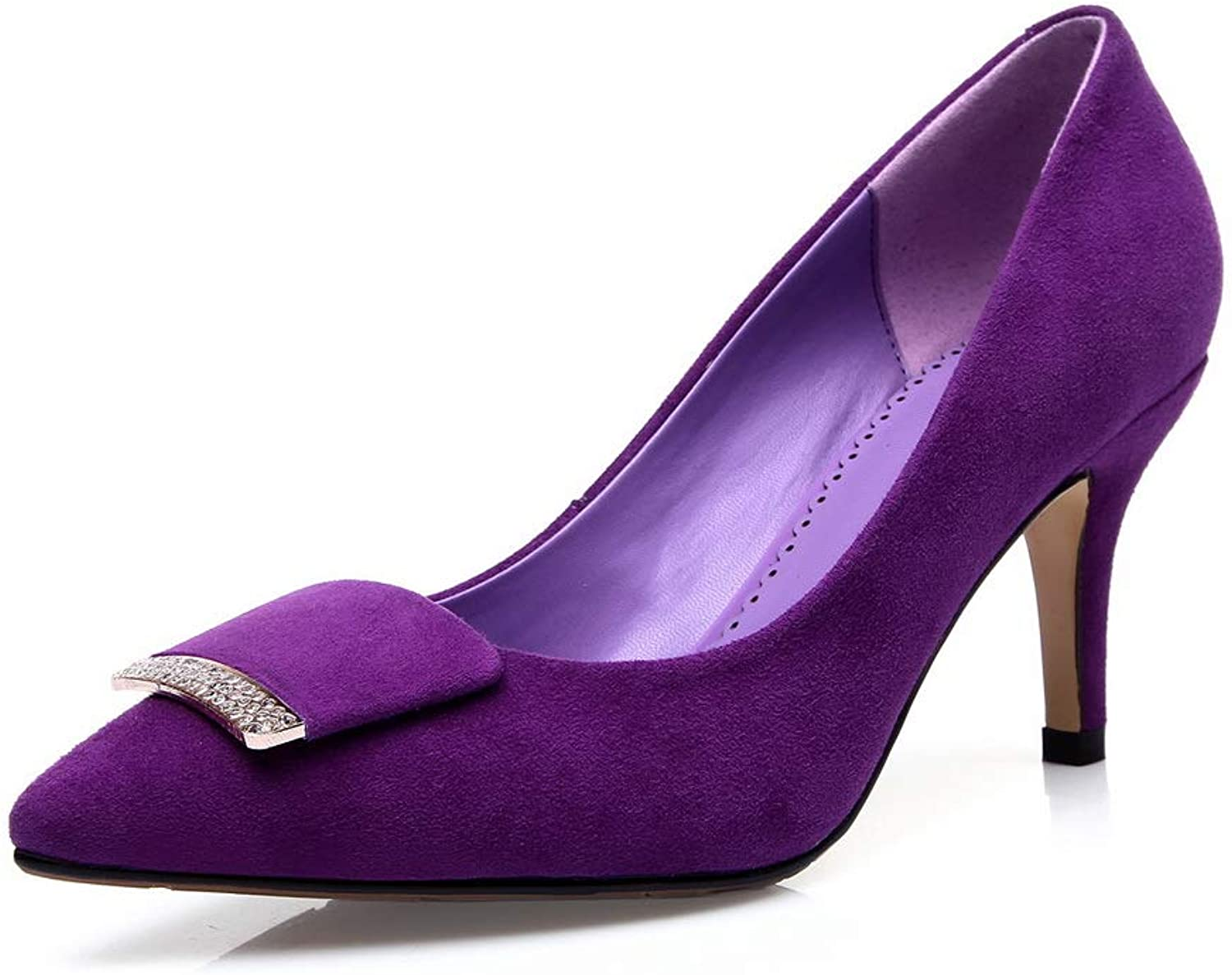 AN Womens Pointed-Toe Rhinestones Imitated Suede Pumps shoes DGU00933