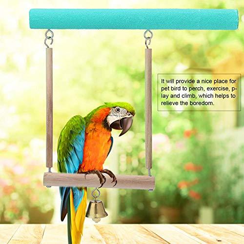 DUANQY Nuevo 1 Set Loro pájaro de Madera cruda Colgante Soporte Perchero de Juguete Perchero para Pata molienda Jaula de pájaro Mascota Suministros