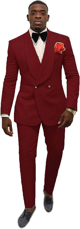 Elegant Double Breasted Suit Men Slim Fit 2 Piece Prom Tuxedo Shawl Lapel Blazer Pant Set JXZ029