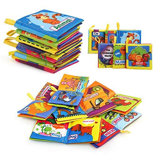 LinStyle Juguetes Bebes 1 Año, Libro de Tela Bebé, 6 Piezas No Tóxicos Libro Bebe, Libro Sensorial, Libro Blando para Baño, Educativo Temprana Libro de Cognición y Regalo Bebe