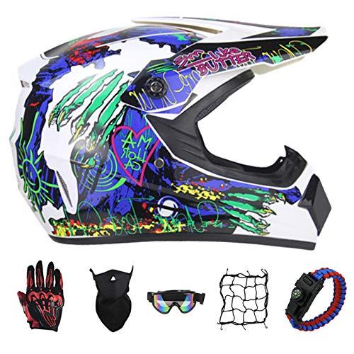 PNNNF Casco de motocross para nios y adolescentes, para bicicleta, mini motocross, cross, ATV Go  Kart  Azul  S (52  55)