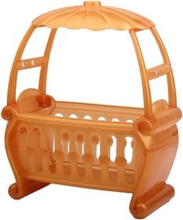 LuDa Mini Plastic Cradle Crib with Canopy for Kelly Dolls Baby Room Bedroom Decor