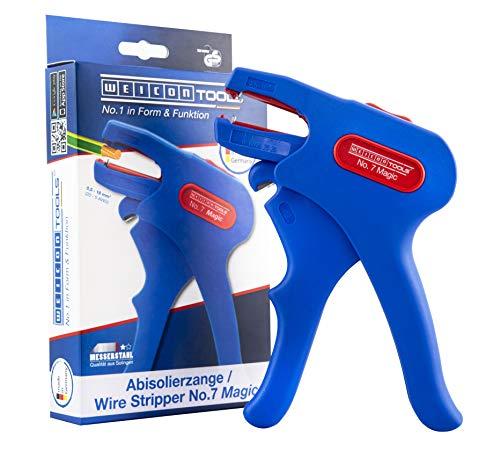 WEICON 51000007 Flexible Abisolierzange No.7 Magic für 0,5-16mm² Kabel mit Seitenschneider, blau/rot, 175mm