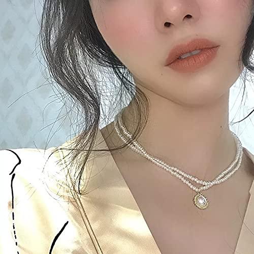 Collar de mujer Collar de perlas de doble capa de gama alta...