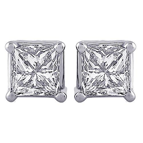 Pendientes de diamante de corte princesa en oro blanco de 14 K (1/10 quilates)