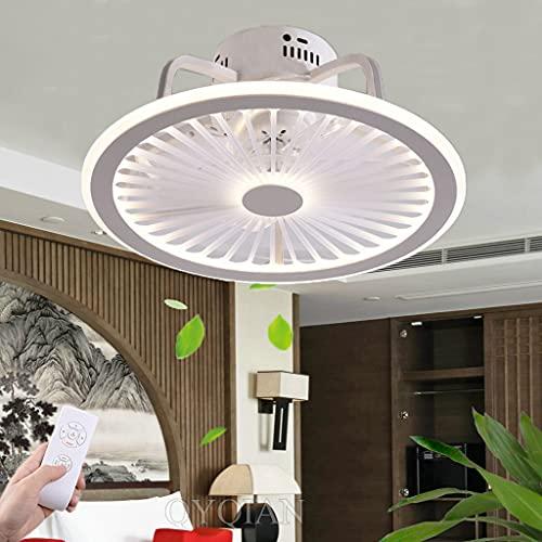 Ventilador De Techo Con LED Luz, Y Mando A Distancia Silencioso Ventilador Luz De Techo Temperatura De 3 Colores Y Velocidad Del Viento Ajustable Bar Pasillo Ventilador De Techo Con Lámpara (White)