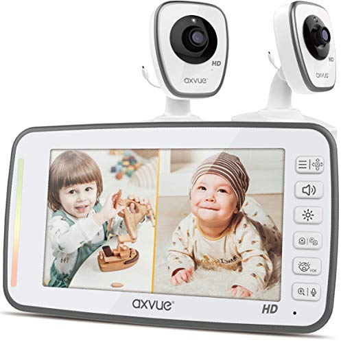 "[HD] Video Baby Monitor, 720P 5"" HD Display, IPS Screen, 2 HD Cams, 12-Hour Battery Life, 1000ft Range, 2-Way Communication, Secure Privacy Wireless Technology Monitors Video"