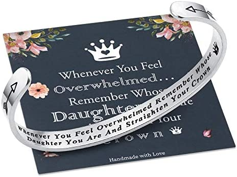M MOOHAM Whenever You Feel Overwhelmed Remember Whose Daughter Straighten Your Crown Bracelet product image