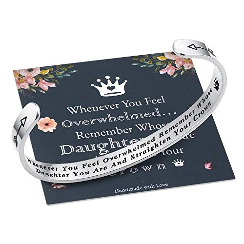 M MOOHAM Whenever You Feel Overwhelmed Remember Whose Daughter Straighten Your Crown Bracelet, Daughter Gifts Bracelet from Mom Engraved Inspirational Quote Cuff Bracelet (Daughter Crown Bracelet)