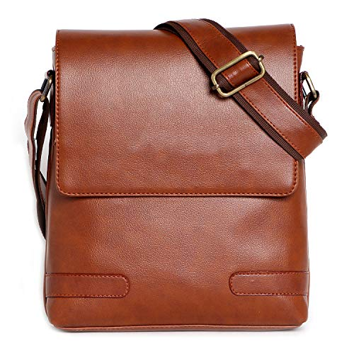 Rolexo Bolso cruzado elegante de cuero sintético para hombre, viajes, oficina, negocios, mensajero de negocios, marrón (Bronceado), Small