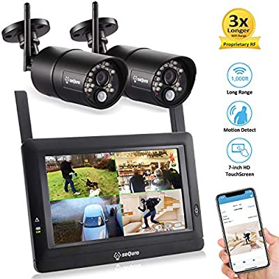 "Sequro GuardPro DIY Long Range Wireless Video Surveillance System 7"" Touchscreen Monitor 2 Outdoor/Indoor Night Vision IP66 Weatherproof HD Network DVR Home Security IP Cameras Smartphone Access"