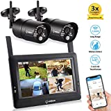 "Sequro GuadrPro DIY Surveillance System 7"" Touch Screen 2 HD 720p Security Cameras"