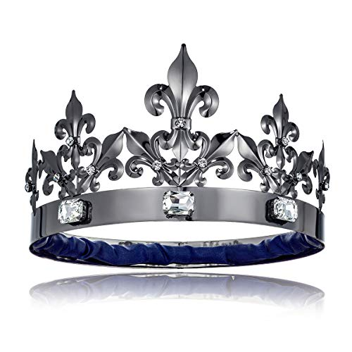 DcZeRong Adult Men Birthday Crowns Costume Black King Crown Large Size Crowns Homecoming Prom King Crystal Crowns Big Size Men's Black Crowns