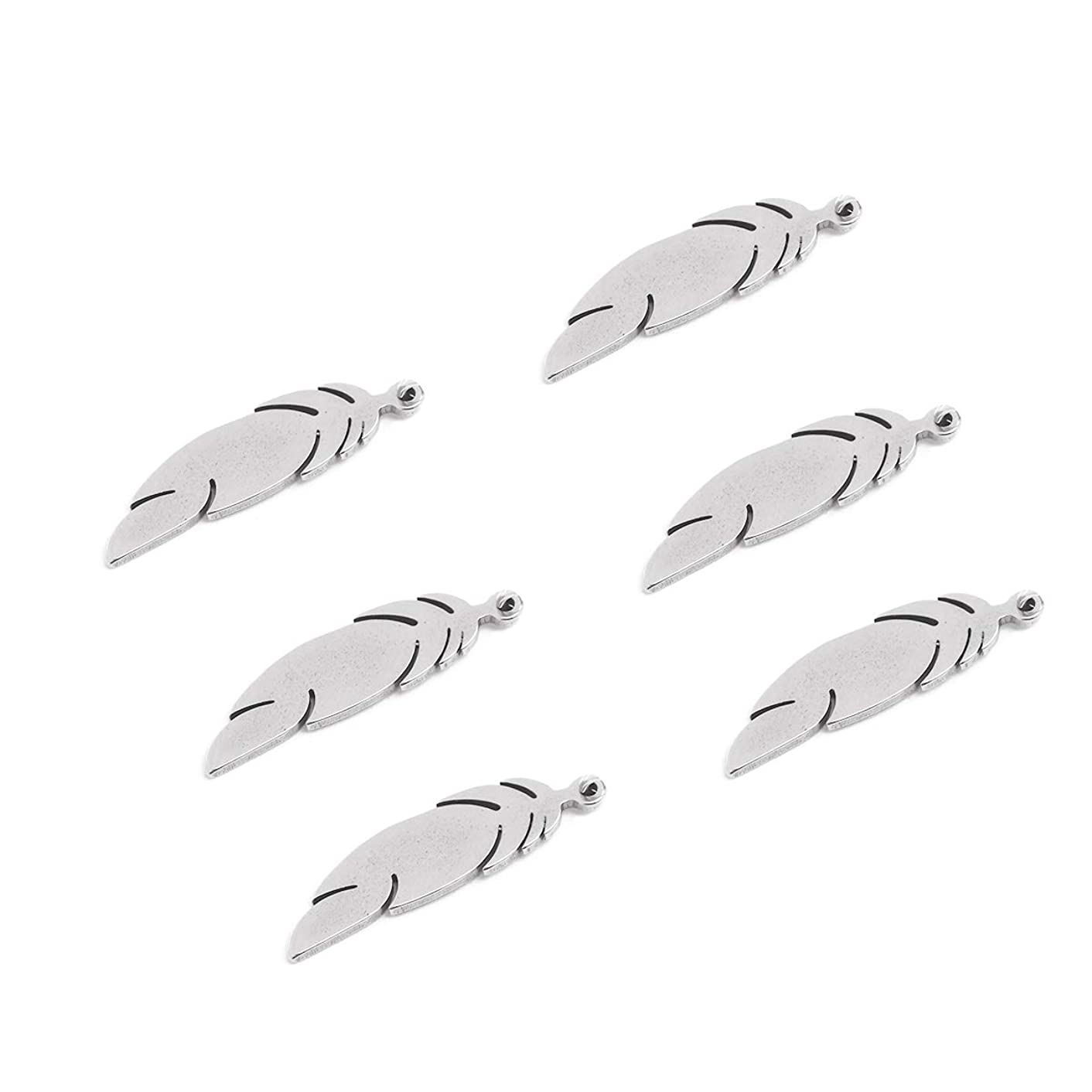 Tiparts 20pcs Gold Silver Stainless Steel Feather Charms Pendants Jewelry Making Accessories DIY (Silver)
