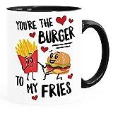 Moonworks® Tazza da caffè con scritta in lingua inglese 'You're the burger to my fries', idea regalo per San Valentino, anniversario, compleanno, interno nero