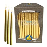 Ner Mitzvah Gold Metallic Dripless Chanukah and Birthday Candles - Standard Size Fits Most Menorahs - Premium Quality Wax - 45 Count for All 8 Nights of Hanukkah