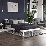 Vida Designs Milan Double <span class='highlight'>Bed</span>, 4ft6, <span class='highlight'>Bed</span> Frame, Solid Pine Wood, Headboard, Low Foot End, <span class='highlight'>Bed</span>room Furniture, White