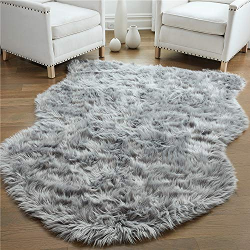 Gorilla Grip Premium Faux Fur Area Rug, 3x5, Fluffy Sheepskin Shag Carpet Accent Rugs for Bedroom and Living Room, Luxury Indoor Home Decor, Bed Side Floor Plush Carpets, Sheepskin, Gray