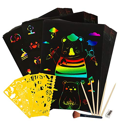 Youwo Kids' Paper Craft Kits - 50 Piece Rainbow Magic Scratch Paper with 5 Wooden Stylus Create Preschool Rainbow Scratch Art Toys for Kids Best Gifts