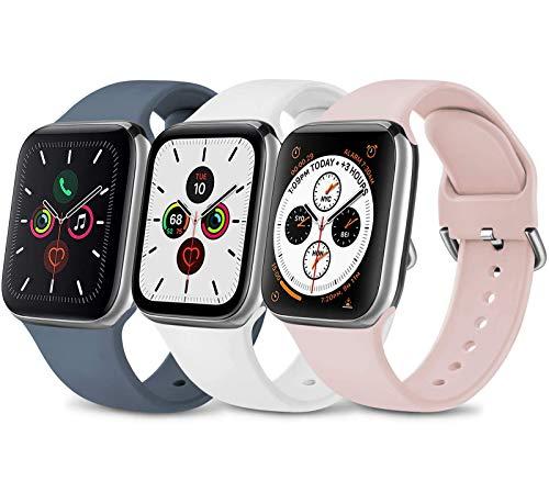 Wanme 3 Pack Compatibile per Cinturino Apple Watch 38mm 40mm 42mm 44mm, Silicone Morbido Cinturini Edizione Sportivo per iWatch Series 6 5 4 3 2 1 SE , Uomo e Donna Cinturini