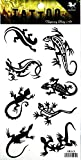 NipitShop 1 Sheet Black Lizard Gekko Salamander Women Body Tattoo Sticker for Men Fake Waterproof Temporary Tattoo New Designs Body