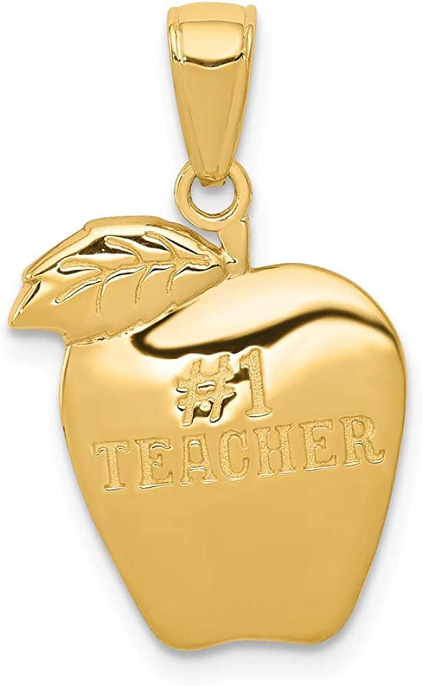 Solid 14k Yellow Gold Number One # 1 Teacher Apple Pendant Charm - 22mm x 14mm